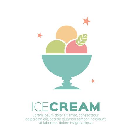 アイスクリーム アイコン。甘さ、モノラル ベクトル記号。  イラスト・ベクター素材