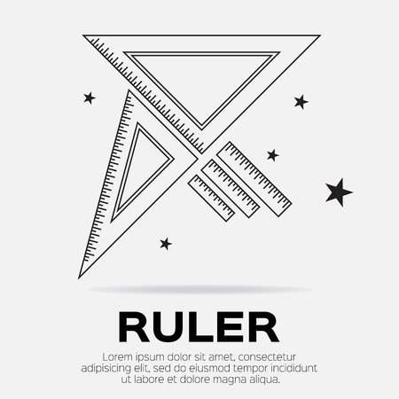 Ruler icon. Ruler symbol. Office Supply Objects. Flat Vector illustration.  イラスト・ベクター素材