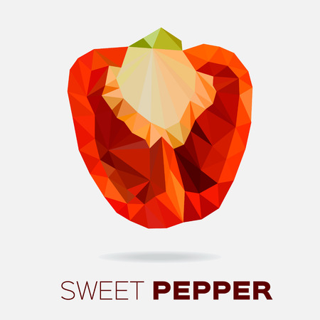 paprica: Polygonal Sweet pepper.  Low poly red bell pepper.