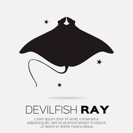 criaturas: Devil fish ray. Vector silhouette of sea creatures.