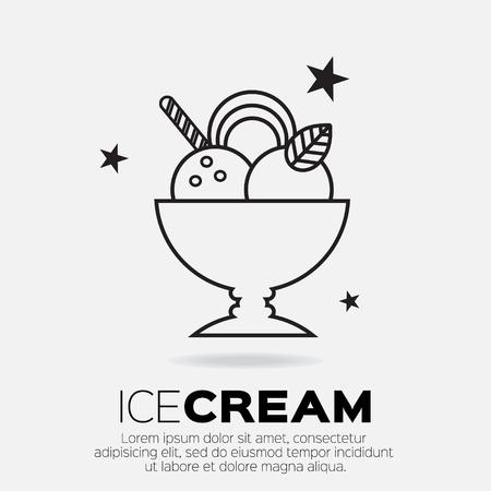 Ice Cream Icons. Sweetness mono vector symbols. 矢量图像