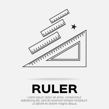 office supply: Ruler icon. Ruler symbol. Office Supply Objects. Flat Vector illustration. Illustration