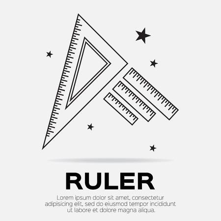 draftsmanship: Ruler icon. Ruler symbol. Office Supply Objects. Flat Vector illustration. Illustration