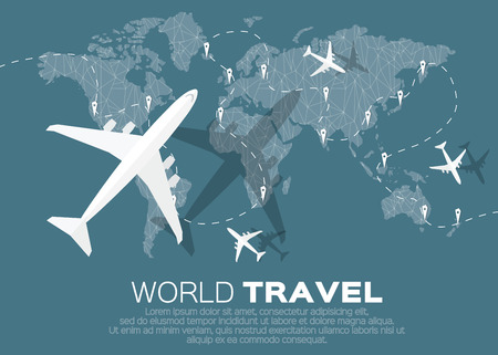 airplane: Travel World map background in polygonal style with top view airplane. Vector illustration design.