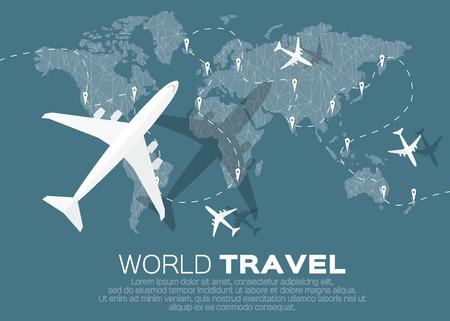 Voyage Mondial Le fond de carte dans le style polygonale avec vue de dessus avion. Vector illustration design. Banque d'images - 46354182