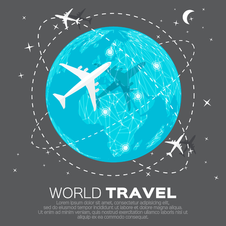 top of the world: Travel World map background in polygonal style with top view airplane. Vector illustration design.