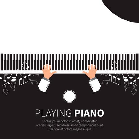 pianista: Hombre que juega el piano. Pianista. Piano de cola y una silla. Instrumento musical. Ilustración vectorial