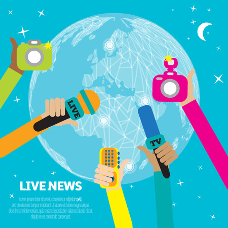 Live report concept, live news - set of hands holding microphones and voice recorders.Breaking news flat style vector illustration. Mass media signs, symbols, objects, icons, abstract elements.