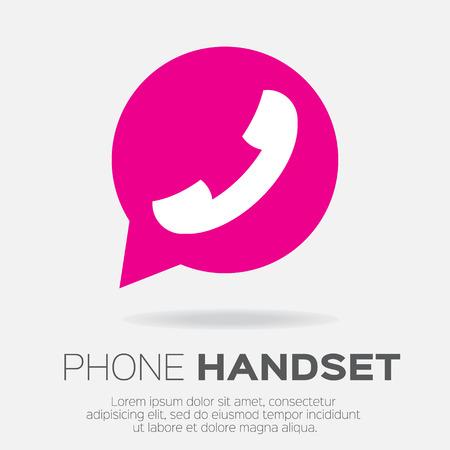 telephone: Telephone handset in speech bubble vector icon.