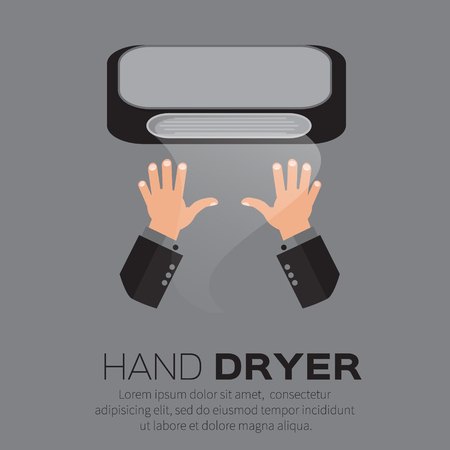 pubblico: Hand Air Dryer In Public Toilet or Washrooms. Vector Illustration.