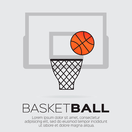 hoop: Basketball hoop. Ball shooting. Vector illustration.
