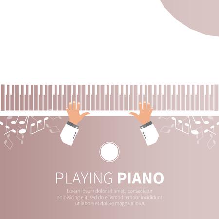 fortepian: Człowiek gra na pianinie. Pianista. Fortepian i krzesło. Instrument muzyczny. ilustracji wektorowych