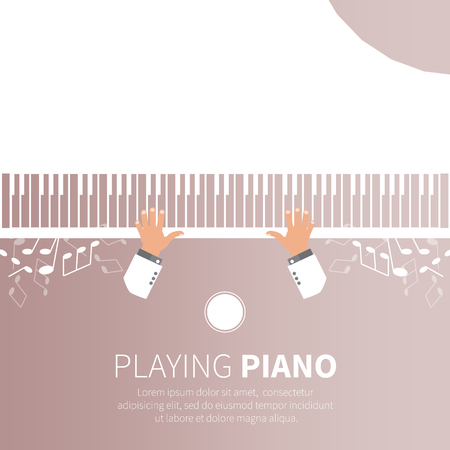 piano player: Man playing piano. Pianist. Grand piano and chair. Music instrument. Vector illustration
