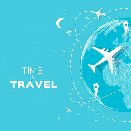 Travel World map background in polygonal style with top view airplane. Vector illustration design.