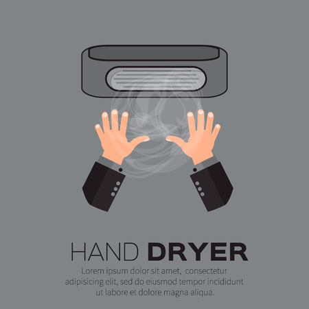 drier: Hand Air Dryer In Public Toilet or Washrooms. Vector Illustration.