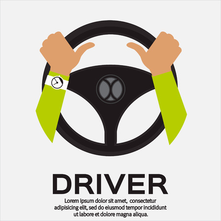 Driver design element with hands holding steering wheel. Vector illustration.