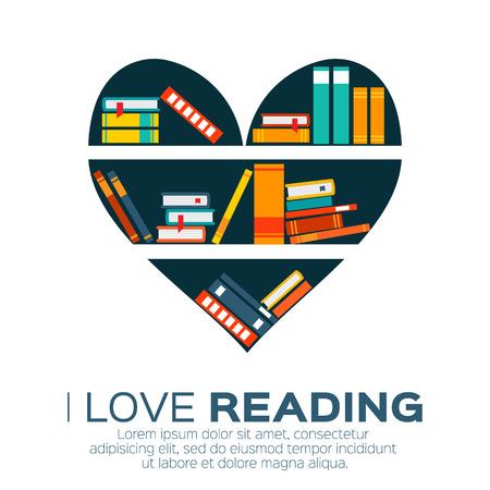 portadas de libros: Estanterías con libros de colores en el estilo de diseño plano. Amo los libros. biblioteca en casa con la literatura, ilustración vectorial