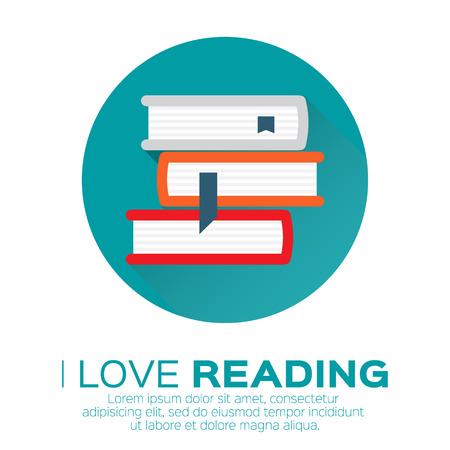Tagères avec des livres colorés dans un style design plat. Je adore les livres. Bibliothèque de la maison avec la littérature, illustration vectorielle Banque d'images - 46354433