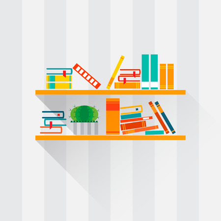 Bookshelves with colorful books in flat design style. I love books.  Home library with literature, vector illustration Ilustração