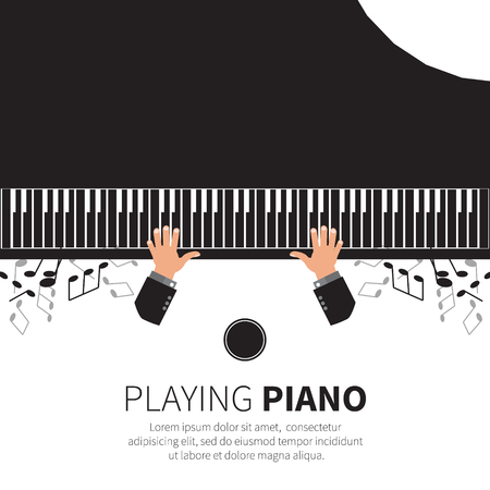 grand piano: Man playing piano. Pianist. Grand piano and chair. Music instrument. Vector illustration