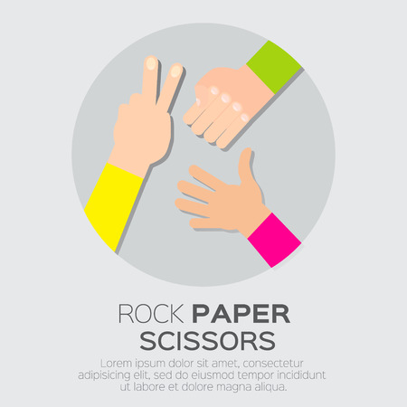 rock: Rock, Scissors, Paper - Hand Game. Vector illustration