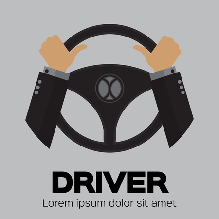 chauffeur: Driver design element with hands holding steering wheel. Vector illustration. Illustration
