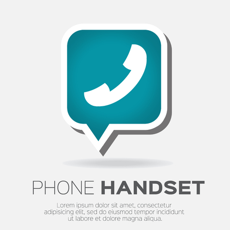 handset: Telephone handset in speech bubble vector icon.
