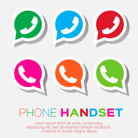 friend  nobody: Telephone handset in speech bubble vector icon - green version.