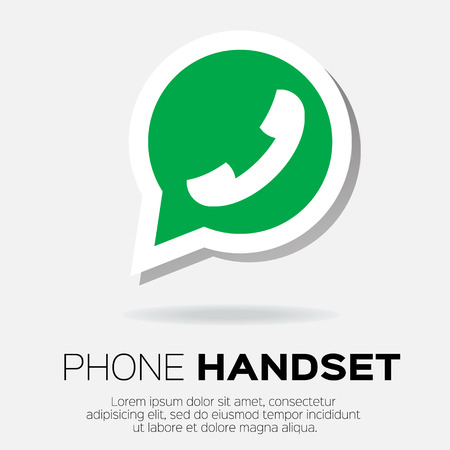 friend nobody: Telephone handset in speech bubble vector icon - green version.