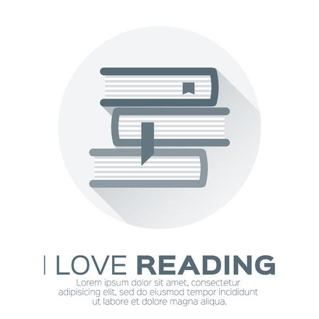 literatura: Estanterías con libros de colores en el estilo de diseño plano. Amo los libros. biblioteca en casa con la literatura, ilustración vectorial