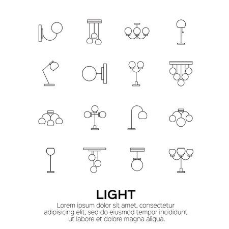 Sätze Von Lampen Und Leuchter. Lichtmaschinen-Sammlung. Vektor ...