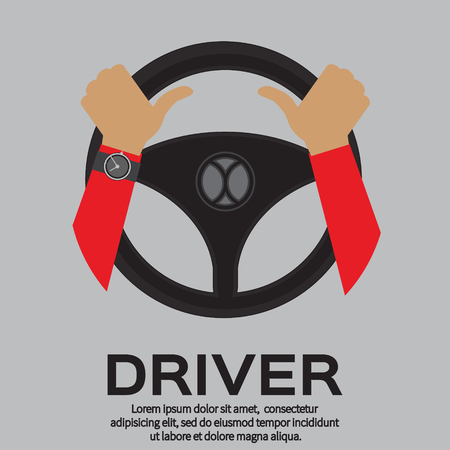 Driver design element with hands holding steering wheel. Vector illustration. 矢量图像