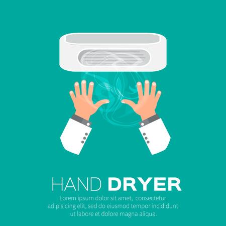 public toilet: Hand Air Dryer In Public Toilet or Washrooms. Vector Illustration.