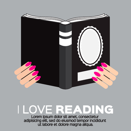 read the book: Women reading a colorful book in flat design style. I love books.  Home library with literature, vector illustration