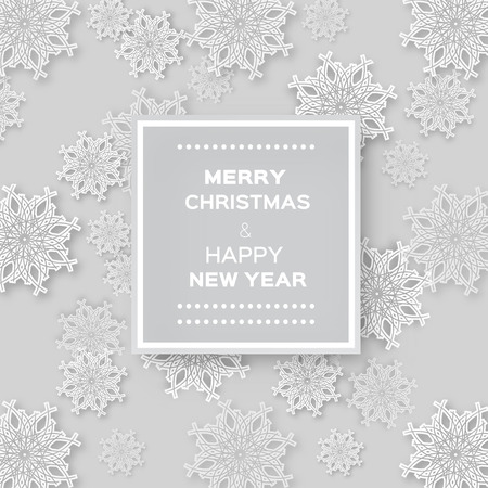 text space: Abstract Christmas Snowflakes background with paper ball and space for text - cut from paper concept. Vector illustration eps10.