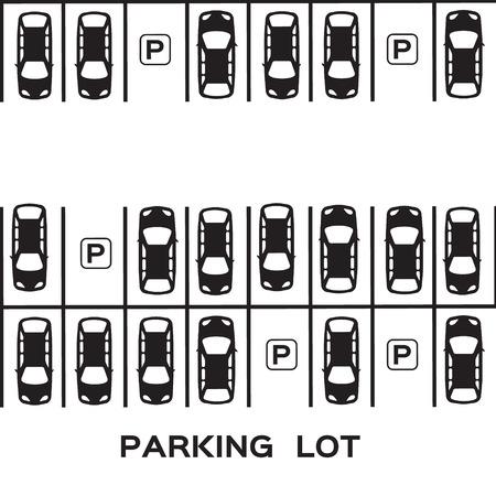 Top View Parkeerplaats ontwerp. Veel auto's geparkeerd. Vector Illustratie. Vector Illustratie