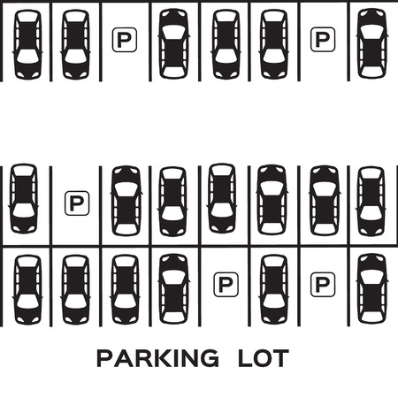 view from the above: Top View Parking lot design. Many cars parked. Vector Illustration.
