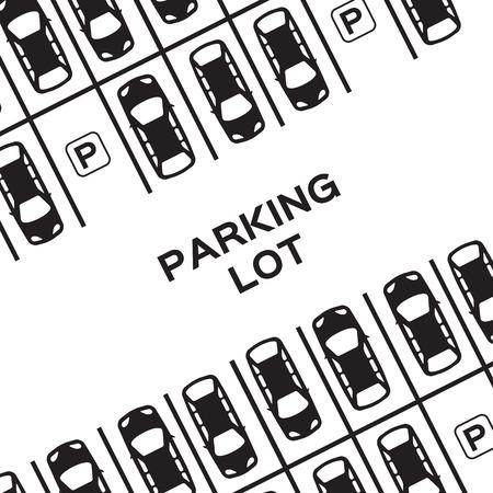 トップ ビュー駐車場デザイン。多くの車が駐車。ベクトルの図。