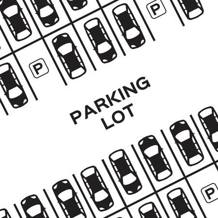 parked: Top View Parking lot design. Many cars parked. Vector Illustration.