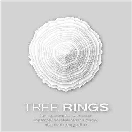 forestry: Tree rings with saw cut tree trunk - cut from paper concept background. Forestry and sawmill. Vector illustration - eps10