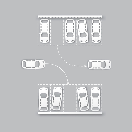 parking lot: Top View Parking lot design - - cut from paper concept. Many cars parked. Vector illustration - eps10