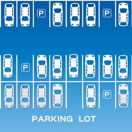 Vista superior de diseño Parking - - corte de concepto de papel. Muchos coches estacionados. Ilustración del vector - eps10