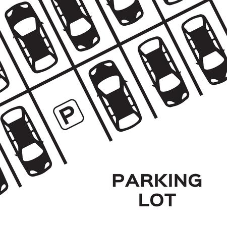 Top View Parking design. Beaucoup de voitures garées. Vector Illustration. Banque d'images - 46401724