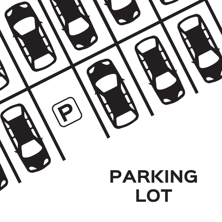 Top View Parking lot design. Many cars parked. Vector Illustration.