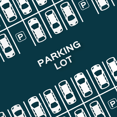 Top View conception de stationnement - - coupe du concept de papier. Beaucoup de voitures garées. Vector illustration - eps10 Banque d'images - 46401826