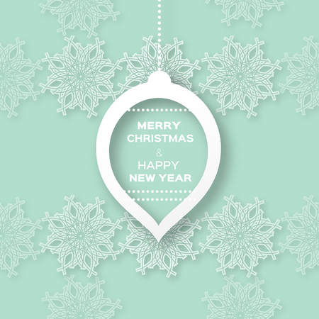 christmas concept: Christmas Snowflakes background with paper ball - cut from paper concept. Vector illustration eps10.