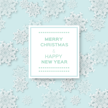 paper ball: Abstract Christmas Snowflakes background with paper ball and space for text - cut from paper concept. Vector illustration eps10.