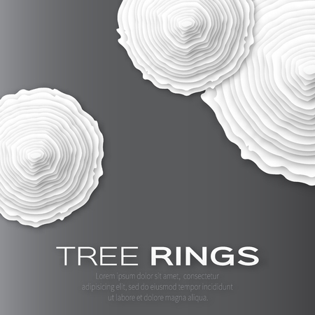 rings on a tree cut: Tree rings with saw cut tree trunk - cut from paper concept background. Forestry and sawmill. Vector illustration - eps10