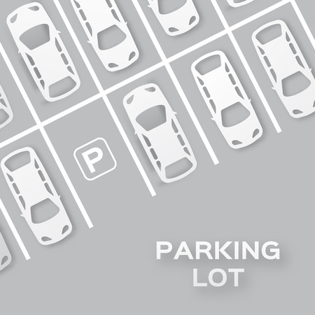 concept car: Top View Parking lot design - - cut from paper concept. Many cars parked. Vector illustration - eps10
