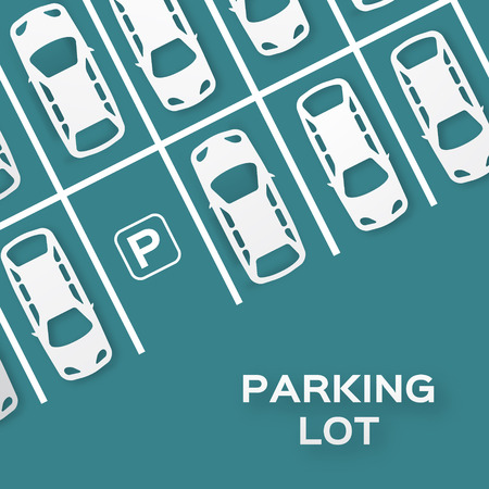car: Top View Parcheggio disegno - - taglio concetto carta. Molte auto parcheggiate. Illustrazione - eps10